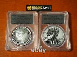 2019 W Silver Eagle Pcgs Pr70 70 Pride Of Two Nations Set Fs Silver Foil Labels