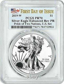2019-w Pride Of Two Nations Silver Eagle-pcgs Pr70-fdoi-enhanced/reverse Proof