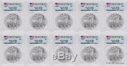 2020 $1 American Silver Eagle PCGS MS70 First Strike Lot of 10