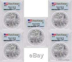 2020 $1 American Silver Eagle PCGS MS70 First Strike Lot of 5