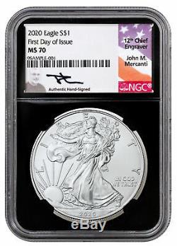 2020 1 oz American Silver Eagle Coin NGC MS70 FDI Black Core Mercanti Signed