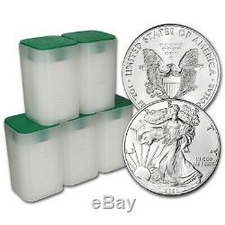 2020 American Silver Eagle 1 oz $1 5 Rolls 100 BU Coins in 5 Mint Tubes