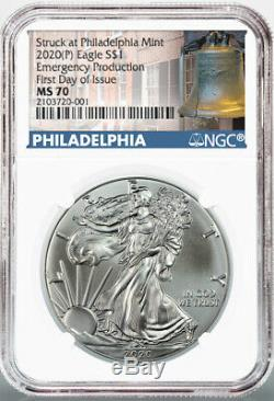 2020 (P) $1 American Silver Eagle NGC MS70 Emergency Production FDOI Bell Label
