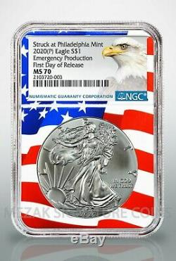 2020 (P) $1 American Silver Eagle NGC MS70 Emergency Release Flagcore label