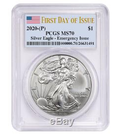 2020 (P) $1 American Silver Eagle PCGS MS70 Emergency Production FDOI Flag Label