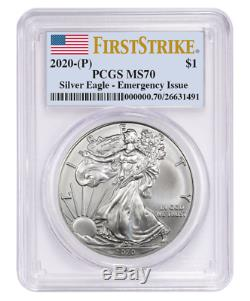 2020 (P) $1 American Silver Eagle PCGS MS70 Emergency Production FS Flag Label