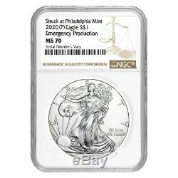 2020 (P) 1 oz Silver American Eagle NGC MS 70 Emergency Production