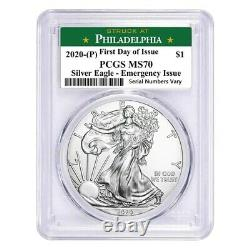 2020 (P) 1 oz Silver Eagle PCGS MS 70 FDOI (Philadelphia) Emergency Issue
