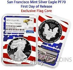 2020-S Proof $1 American Silver Eagle PF70 Ultra Cameo FDOR Flag Core