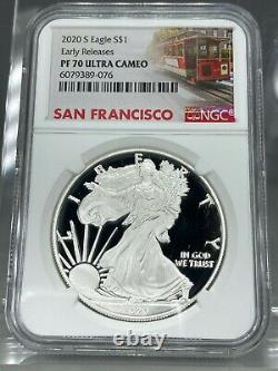 2020-S Proof American Silver Eagle NGC PF70 ER SF Trolley Label