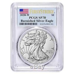 2020-W 1 oz Burnished Silver American Eagle PCGS SP 70 First Strike OGP