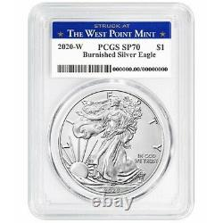 2020-W 1 oz Burnished Silver American Eagle PCGS SP 70 (West Point)