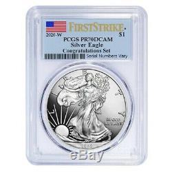 2020-W 1 oz Silver American Eagle Congratulations Set PCGS PF 70 First Strike