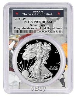 2020 W Congratulations Silver Eagle PCGS PR70 First Day West Point Frame