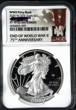 2020 W End Of World War II V75 Silver American Eagle Ngc Pf 70