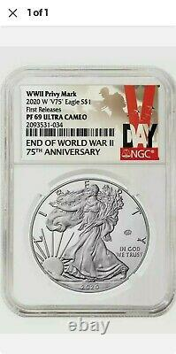 2020 W End of World War II 75th American Silver Eagle V75 NGC PF69 69 PRESALE