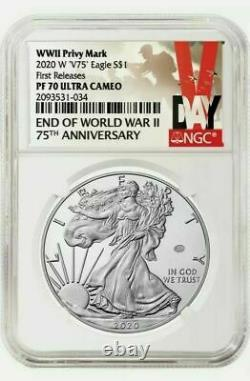 2020 W End of World War II 75th American Silver Eagle V75 NGC PF70 PRESALE