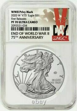 2020 W End of World War II 75th American Silver Eagle V75 NGC PF70 PRESALE