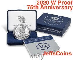 2020 W End of World War II 75th Anniversary American Eagle V75.999 Silver 20XF