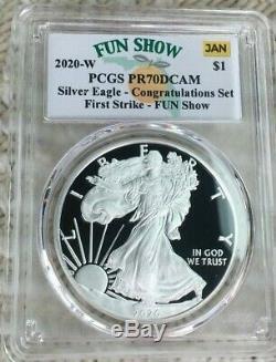 2020-W Proof $1 American Silver Eagle Congratulations PCGS PR70DCAM FUN SHOW