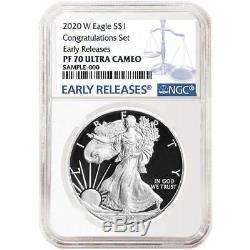 2020-W Proof $1 American Silver Eagle Congratulations Set NGC PF70UC Blue ER Lab