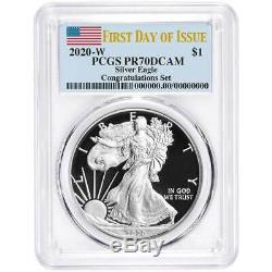 2020-W Proof $1 American Silver Eagle Congratulations Set PCGS PR70DCAM FDOI Fla