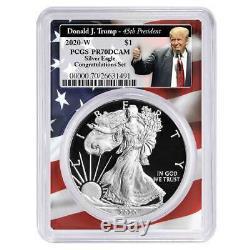 2020-W Proof $1 American Silver Eagle Congratulations Set PCGS PR70DCAM Trump 45