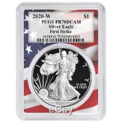 2020-W Proof $1 American Silver Eagle PCGS PR70DCAM First Strike Flag Frame