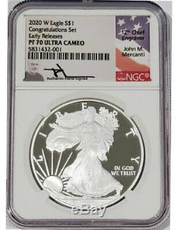 2020 W Silver Eagle Congratulations Set NGC PF70 Ultra Cameo ER Mercanti Signed