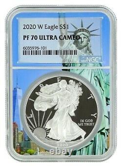 2020 W Silver Eagle Proof NGC PF70 Ultra Cameo Statue Of Liberty Core