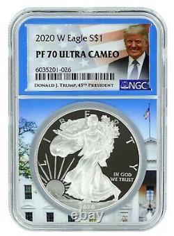 2020 W Silver Eagle Proof NGC PF70 White House Core Trump Label