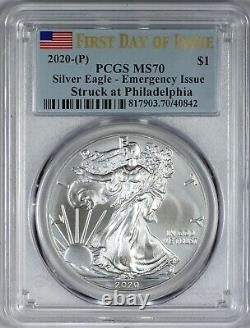 2020 (p) Silver American Eagle $1 Emergency Issue Pcgs Ms70 Philadelphia Fdoi