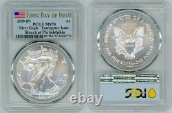 2020 (p) Silver American Eagle $1 Pcgs Ms70 Emergency First Day Of Issue Aaa