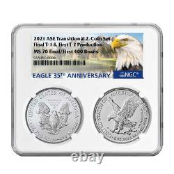 2021 $1 T1 and T2 Silver Eagle Set NGC MS70 First and Final Production 35th Anni