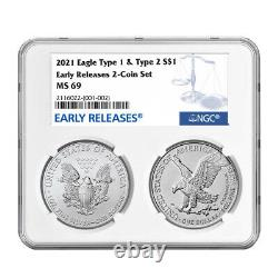 2021 $1 Type 1 and Type 2 Silver Eagle Set NGC MS69 Blue ER Label