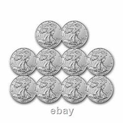 2021 1 oz American Silver Eagle BU (Type 2)- Lot of 10 Coins