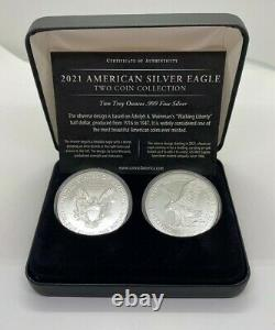 2021 American Silver Eagle Two Coin Collection Type 1 & Type 2 Reverses