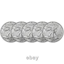 2021 American Silver Eagle Type 2 1 oz $1 BU Five 5 Coins