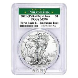 2021 (P) 1 oz Silver American Eagle PCGS MS 70 FDOI Philadelphia Emergency Issue