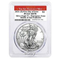 2021 (S) 1 oz Silver American Eagle $1 Coin PCGS MS 70 FDOI (SF) Emergency Issue