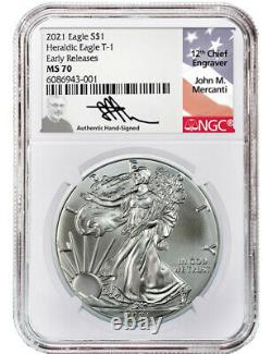 2021 Silver Eagle Heraldic T-1 ER NGC MS70 Mercanti Signed