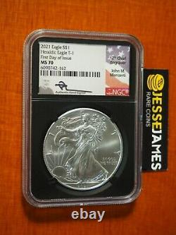 2021 Silver Eagle Ngc Ms70 John Mercanti Signed First Day Of Issue Fdi Type 1