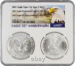 2021 Type 1 and Type 2 Silver Eagle Set NGC MS70 PRESALE