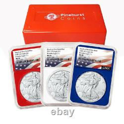 2021 (W) $1 American Silver Eagle 3 pc. Set NGC MS70 Flag Label Red White Blue
