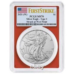 2021 (W) $1 American Silver Eagle 3pc. Set PCGS MS70 FS Flag Label Red White Blu