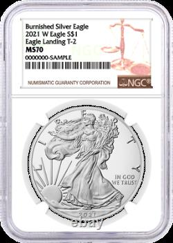 2021 W $1 Burnished Silver Eagle Type 2 NGC MS70 Brown Label
