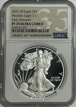 2021 W $1 Ngc Pf70 Er Ucam Early Release Proof Silver Eagle Heraldic T-1 35th Lb