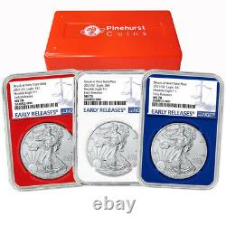 2021 (W) $1 Type 1 American Silver Eagle 3pc. Set NGC MS70 Blue ER Label Red Whi