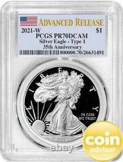 2021 W Proof Silver Eagle 35th Anniversary Type1 PCGS PR70 DCAM Advanced Release