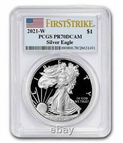 2021 W Silver American Eagle $1 Pcgs Pr70 Dcam